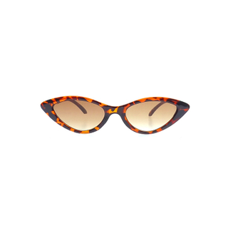 Retro Designer Shades Brown Red Lens Leopard Frame Triangle Vintage Cat Eye Sunglasses Women LS-P1035